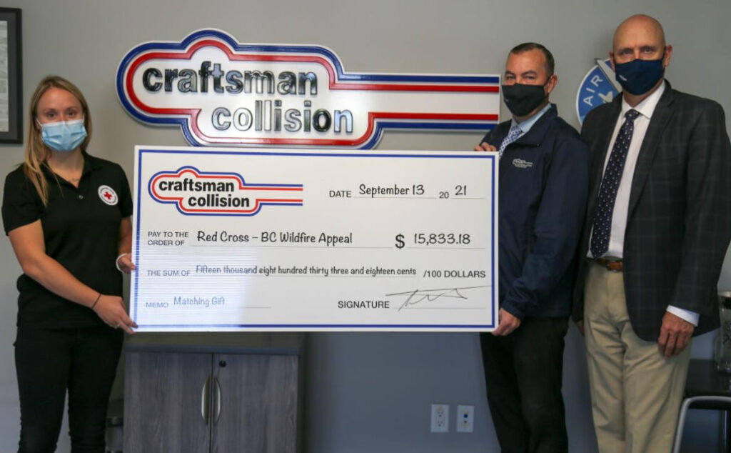 Craftsman Collision Raises $31K for Canadian Red Cross BC Wildfire Appeal